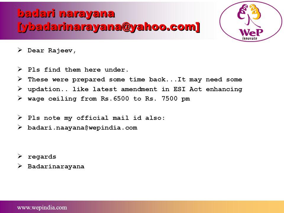 badari narayana [ybadarinarayana@yahoo.com]